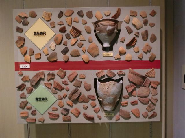 縄文土器と弥生土器が火山灰で分かれました。