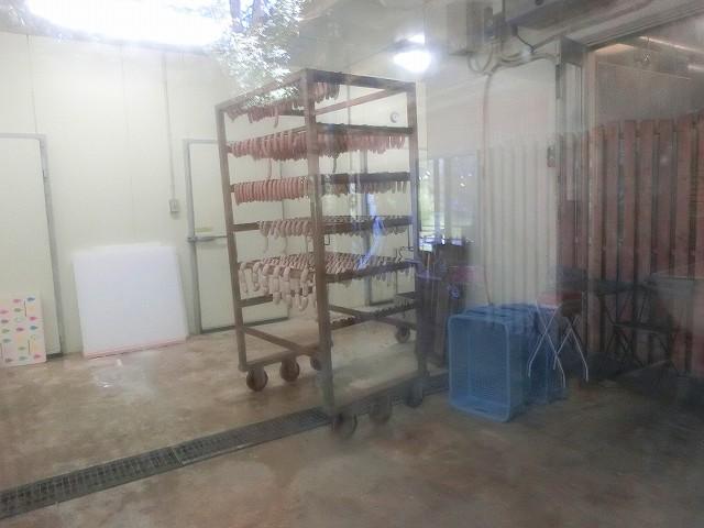 ふくどめ小牧場の加工場は外からガラス越しにみえます。