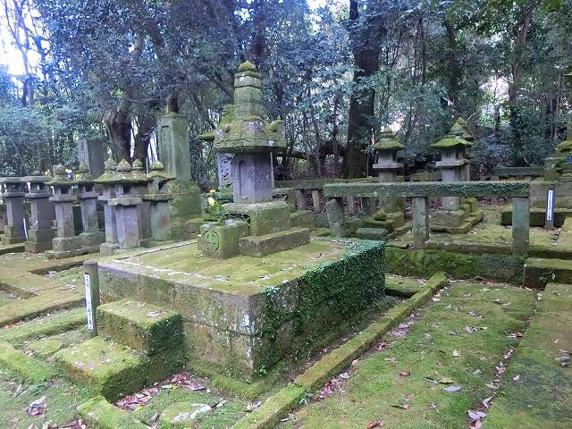 日置島津歴代当主の墓が並びます。