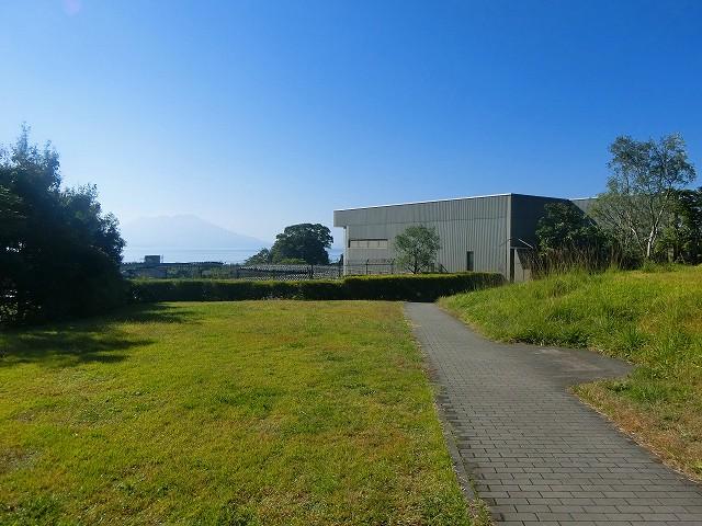 桜島が見える黒酢レストランの壺畑です。