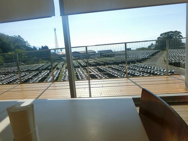壺畑と錦江湾と桜島を見ながら健康中華を頂きます。