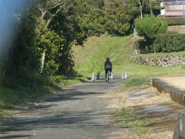 線路跡のサイクリングロードを走ります。