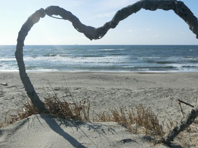 吹上浜でボ~と波の音をきいてました。